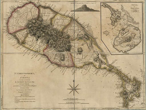 Map of St Kitts in 1700s