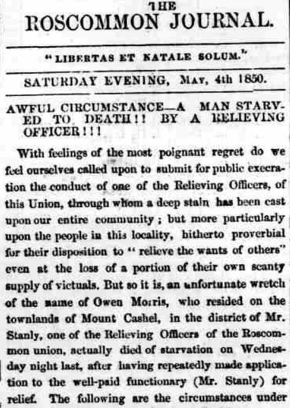 Irish Famine newspaper reports