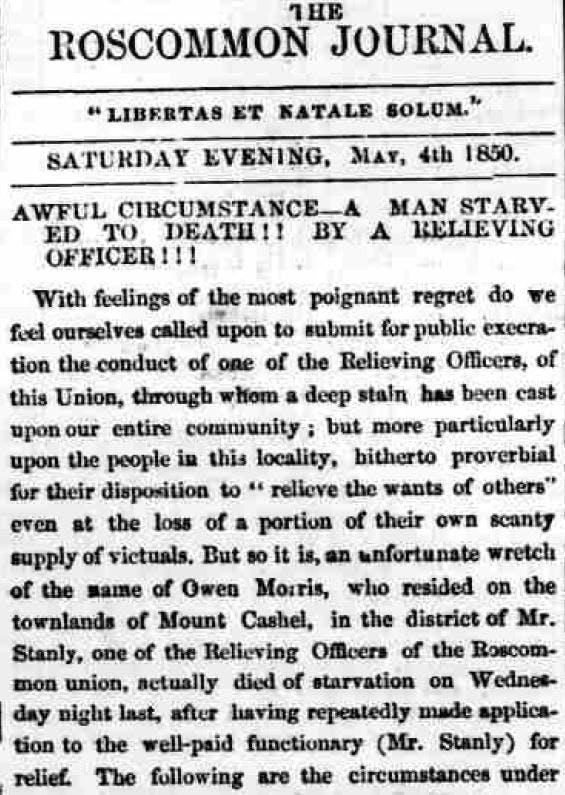 Irish Famine newspaper reports