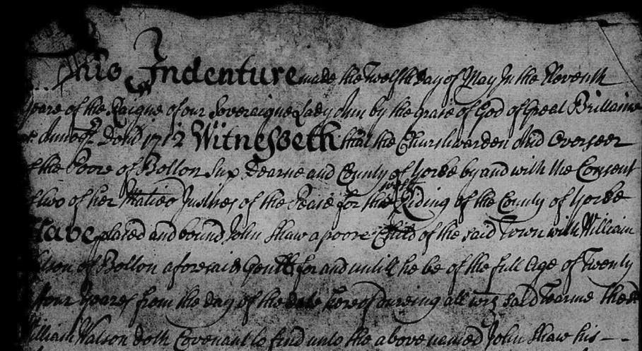 Apprenticeship Indenture between poor child John Shaw to William Watson until the age of 27.