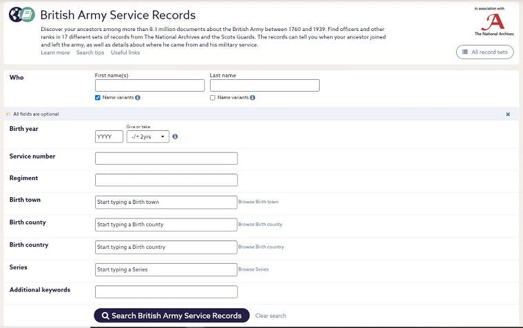 Army records on Findmypast.