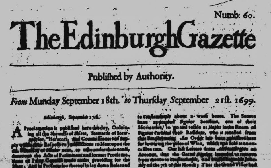 Edinburgh Gazette old newspaper