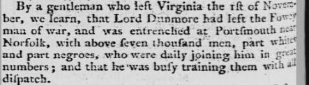 Lord Dunmore's Ethiopian Regiment in newspaper reports from the time