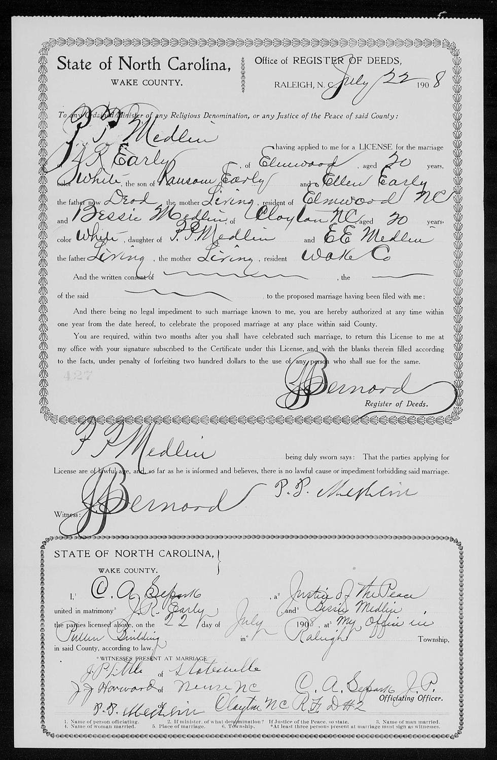 The marriage record of Jubal Ransom Early revealed a puzzling twist - not only was the date far earlier than I thought, the woman he was marrying was not my great-grandmother!