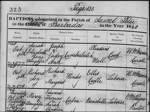 Barbados baptism records