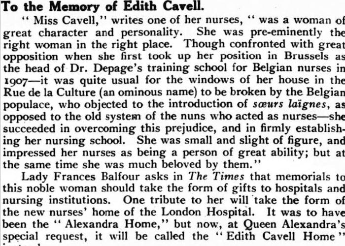 Edith Cavell memoriam in a newspaper