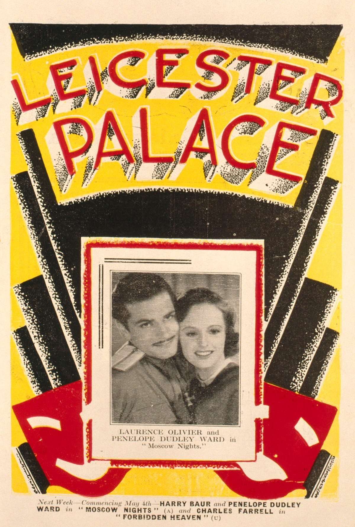 A poster for 'Leicester Palace' in bold red, yellow, and black colours. In the centre of the poster is a small black-and-white image of Laurence Olivier and Penelope Dudley Ward. Below this are the dates for their next show, 'Moscow Nights'.