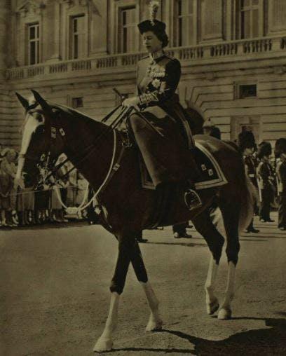 The Queen riding a horse, 1957