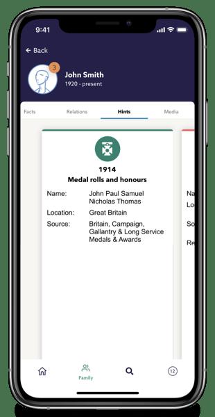 Family tree hints on Findmypast app