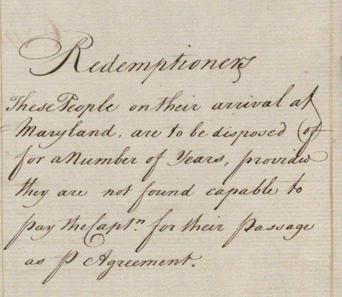Indentured servants records