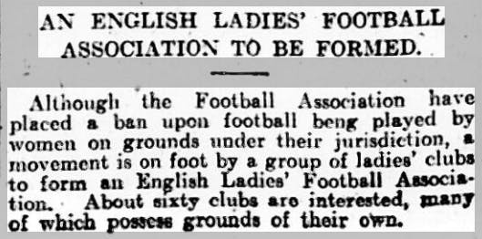 Newspaper article about the formation of the English Ladies Football Association