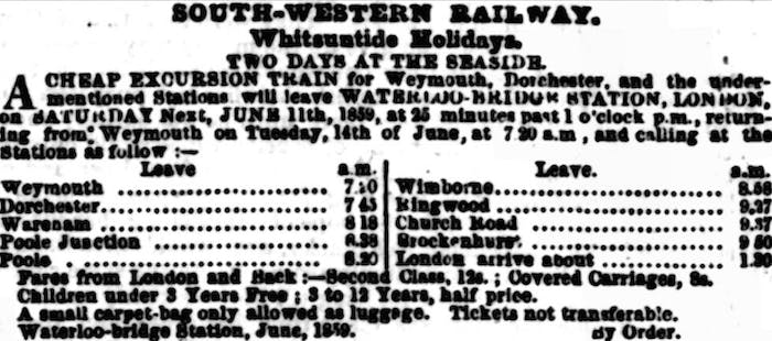 Victorian train prices in the newspapers