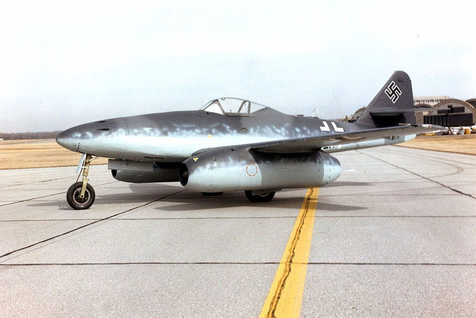 The Me262, one of the first aircraft to run on a jet engine