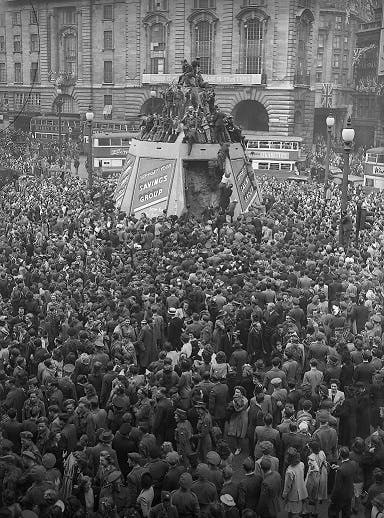 VE Day in Piccadilly Circus