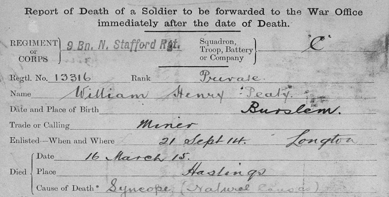Adam Peaty's ancestor in military records