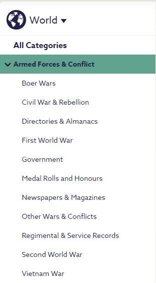 Findmypast's world military records