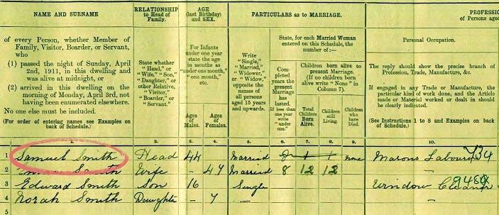 Samuel Smith 1911 census