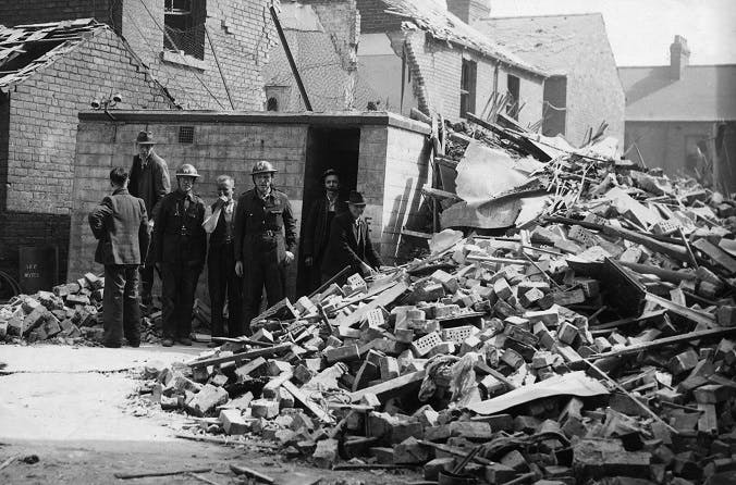 Air raid wardens in the Blitz, Hull, 1941.