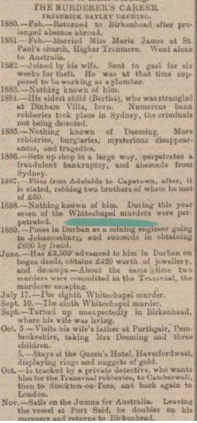 Frederick Deeming newspaper reports
