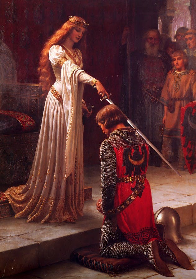 A painting by Edmund Leighton depicting a fictional scene of a knight receiving an accolade