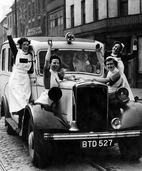 Nurses celebrating on VE Day, 1945
