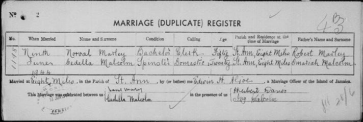 Bob Marley's parents' marriage