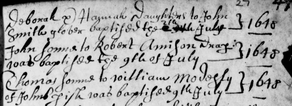 Like these handwritten baptism records from over 350 years ago