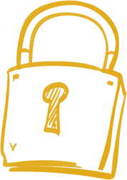 Illustration of a golden yellow padlock.