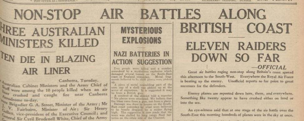 Battle of Britain newspaper reports