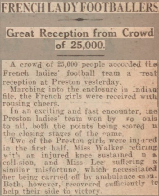Dick, Kerr Ladies defeat a French side in 1920