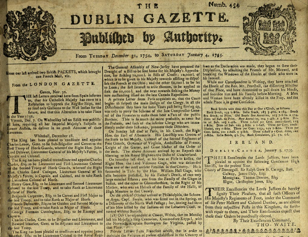 Search Dublin Gazette online