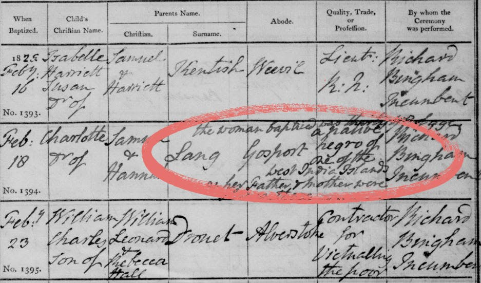 A baptism record with a note about race