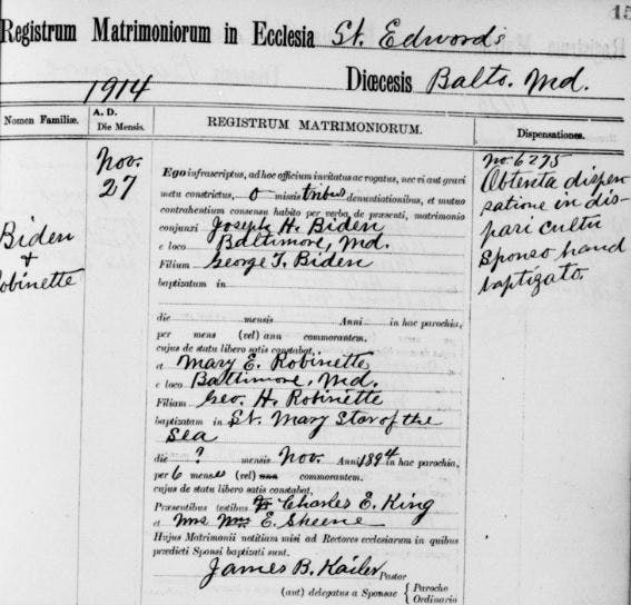 Joe Biden's grandparents' marriage record.
