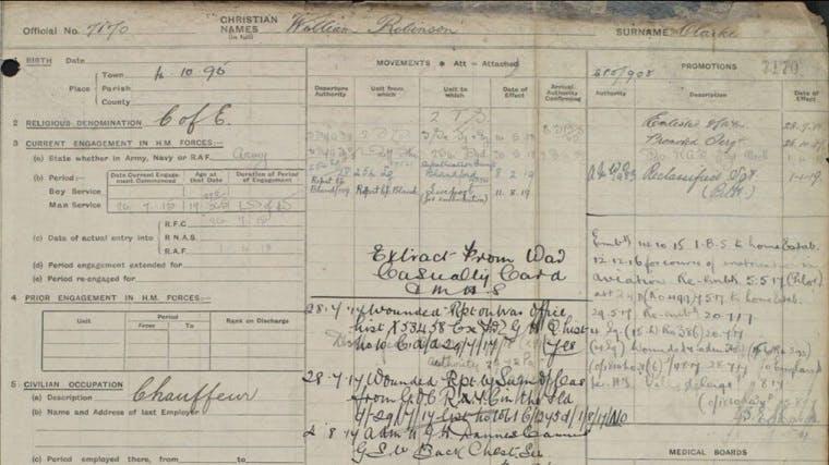 William Robinson Clarke - RAF service record
