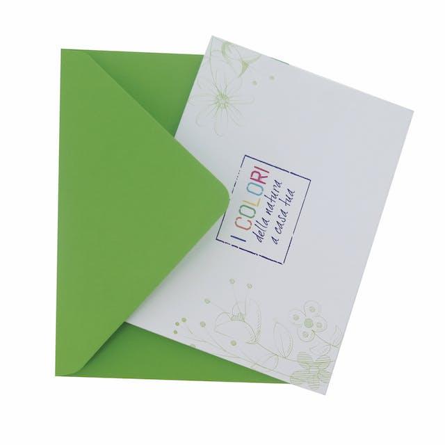 Biglietto con busta verde 15x10