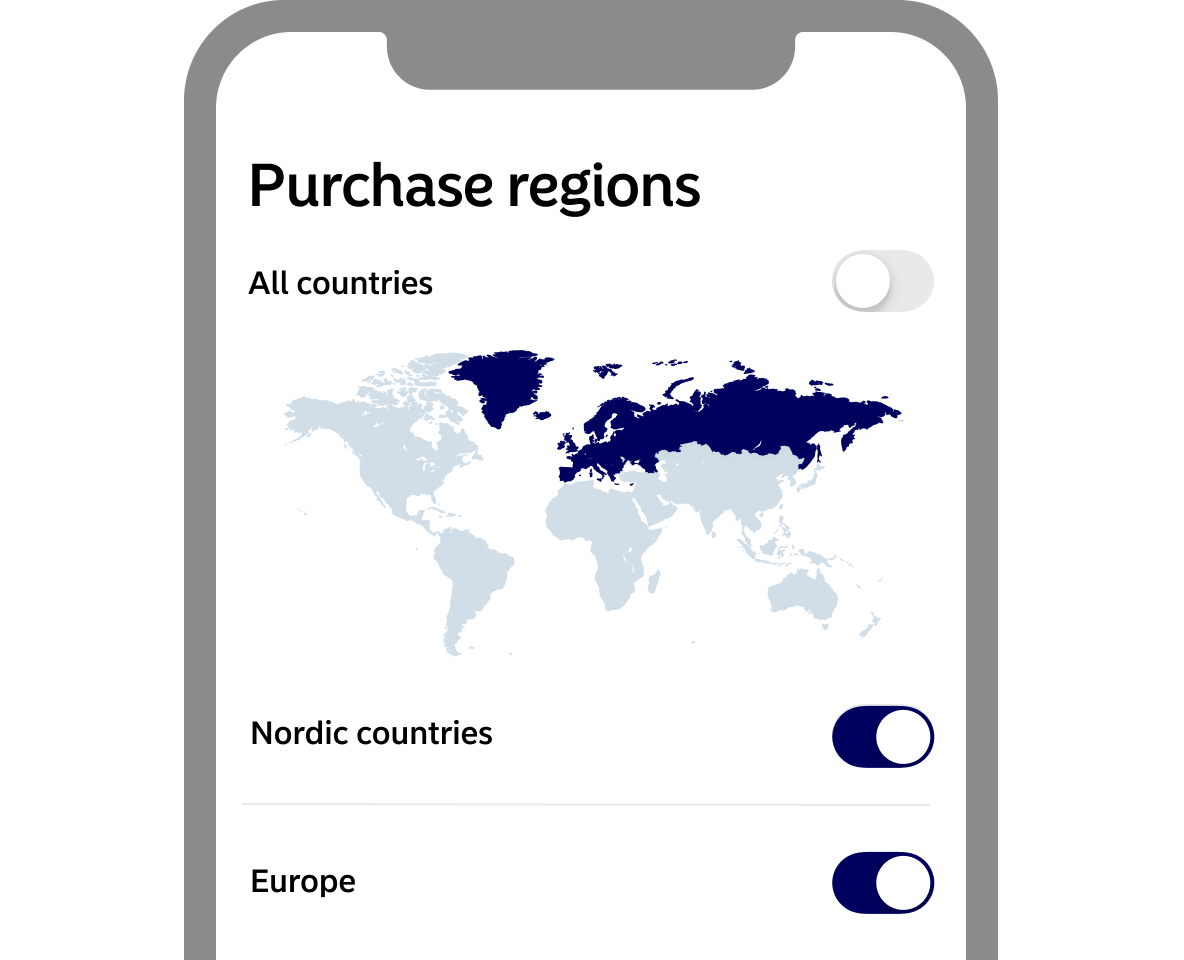 Purchase regions in app screenshot from app