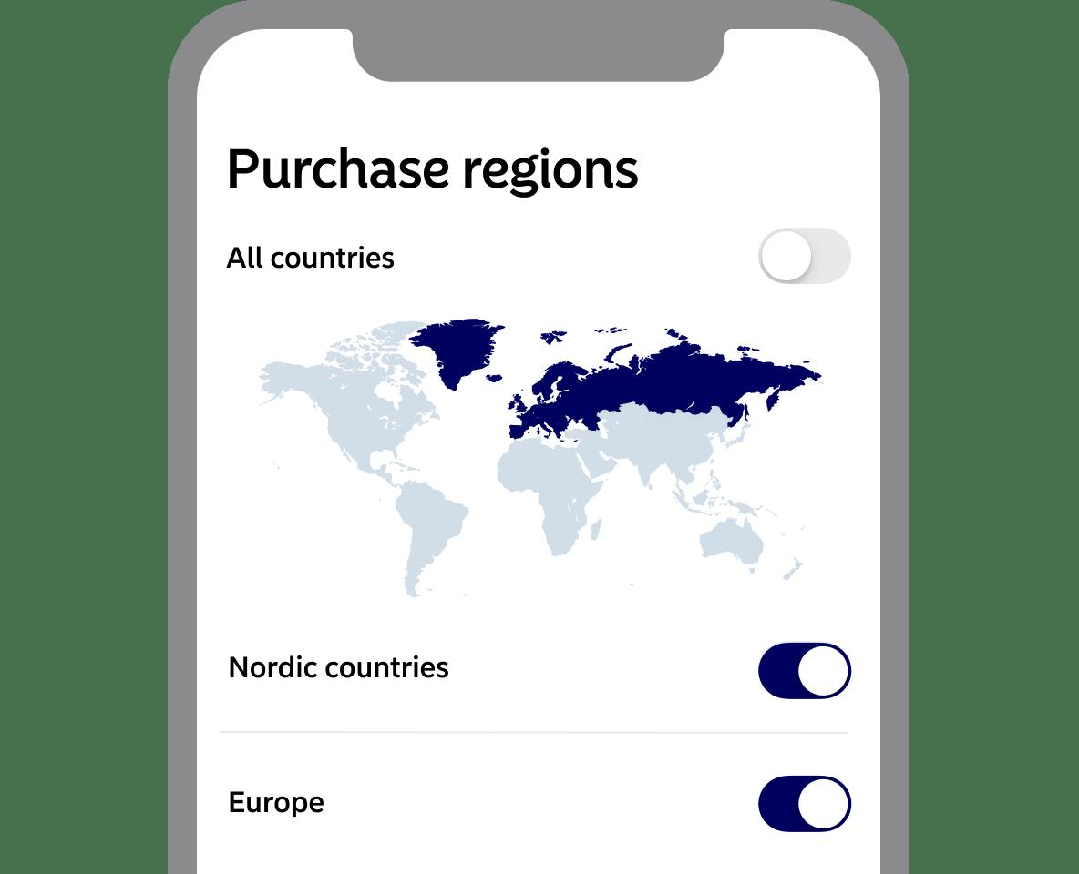 Purchase regions in app screenshot from app