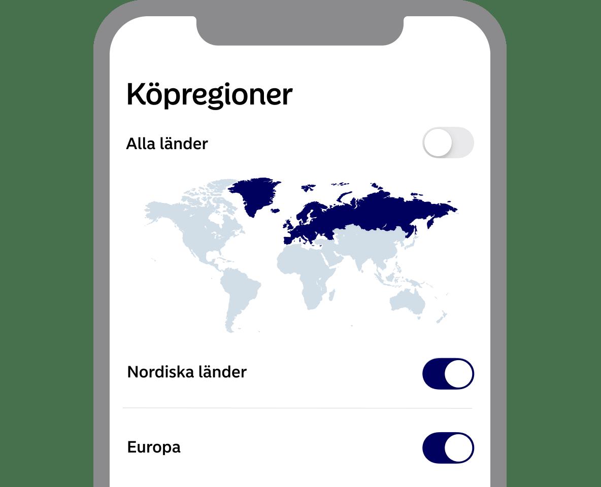Köpregioner bild från First Card app