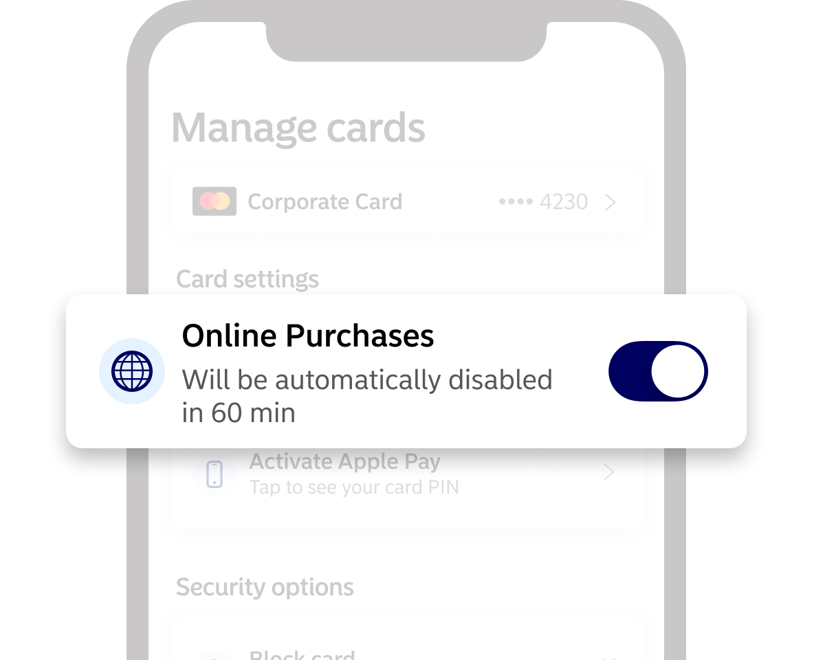 Online purchases screenshot from app