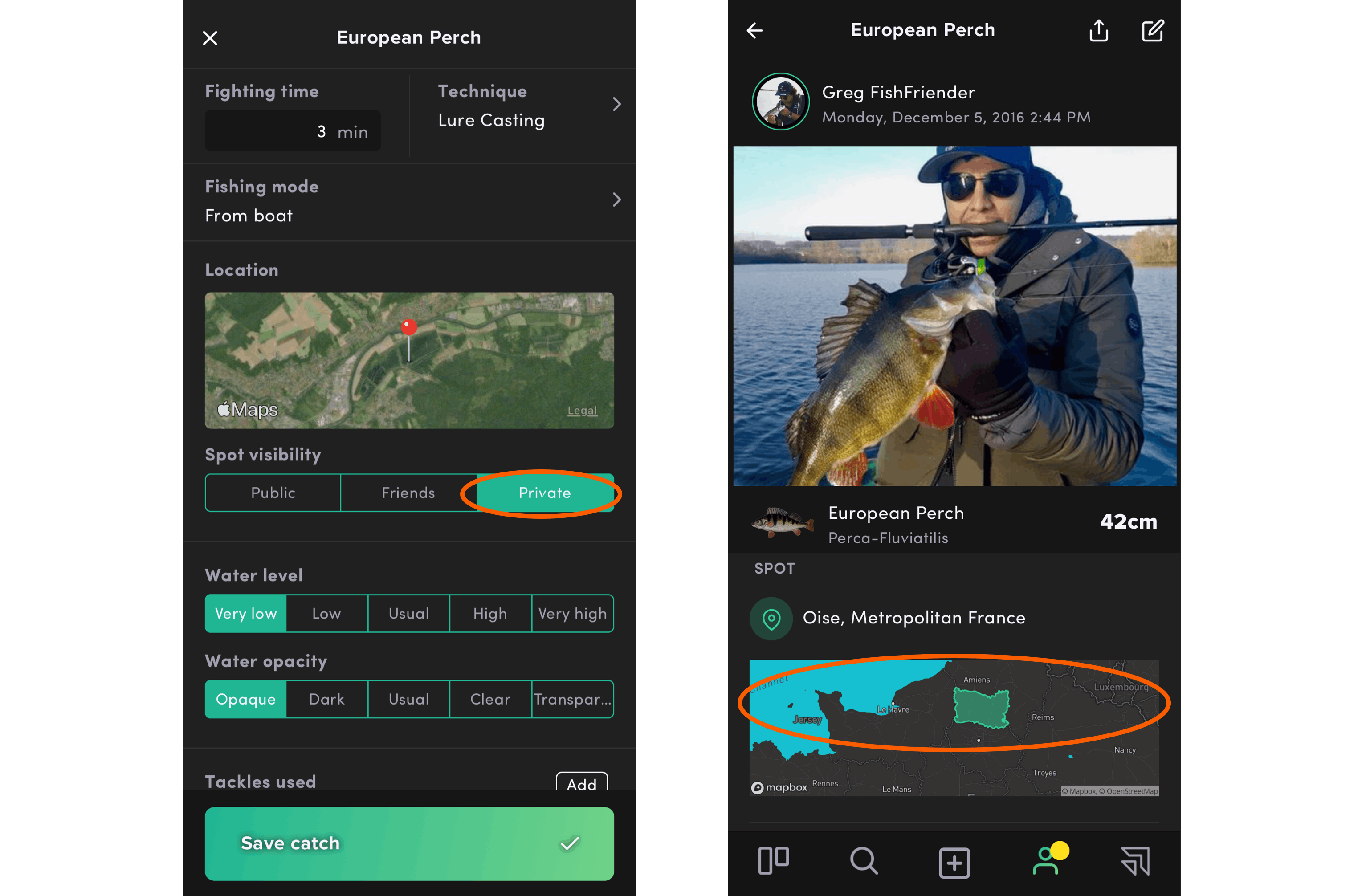 Your spot being private by default, other users will only see the department as in the visual above