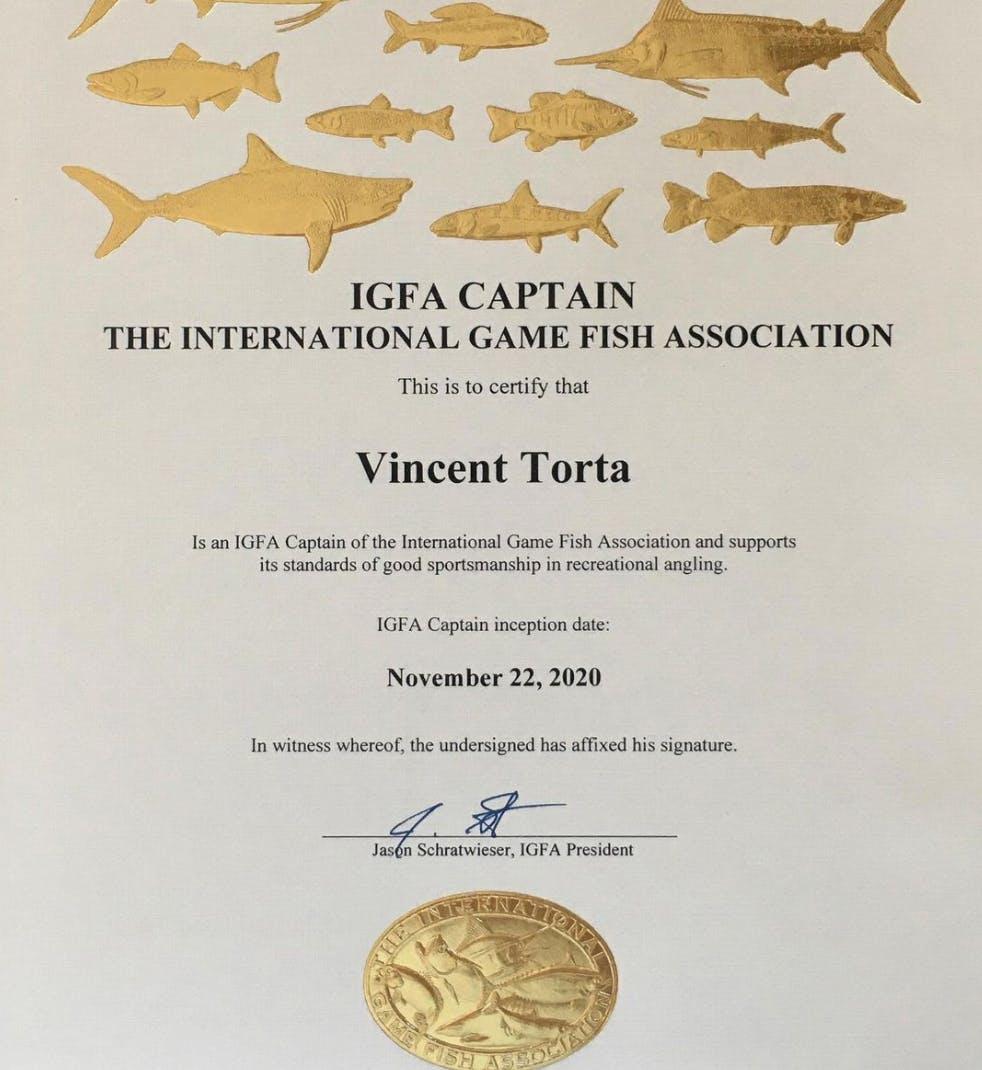 En devenant capitaine IGFA, Vincent Torta confirme son expertise et son respect de l'éthique de l'association