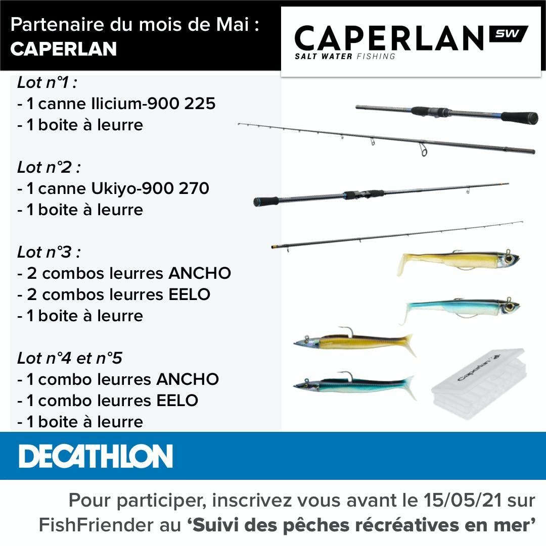 Retrouvez le détail des lots offerts par Caperlan SW à l'occasion du programme de suivi pêche récréative en mer