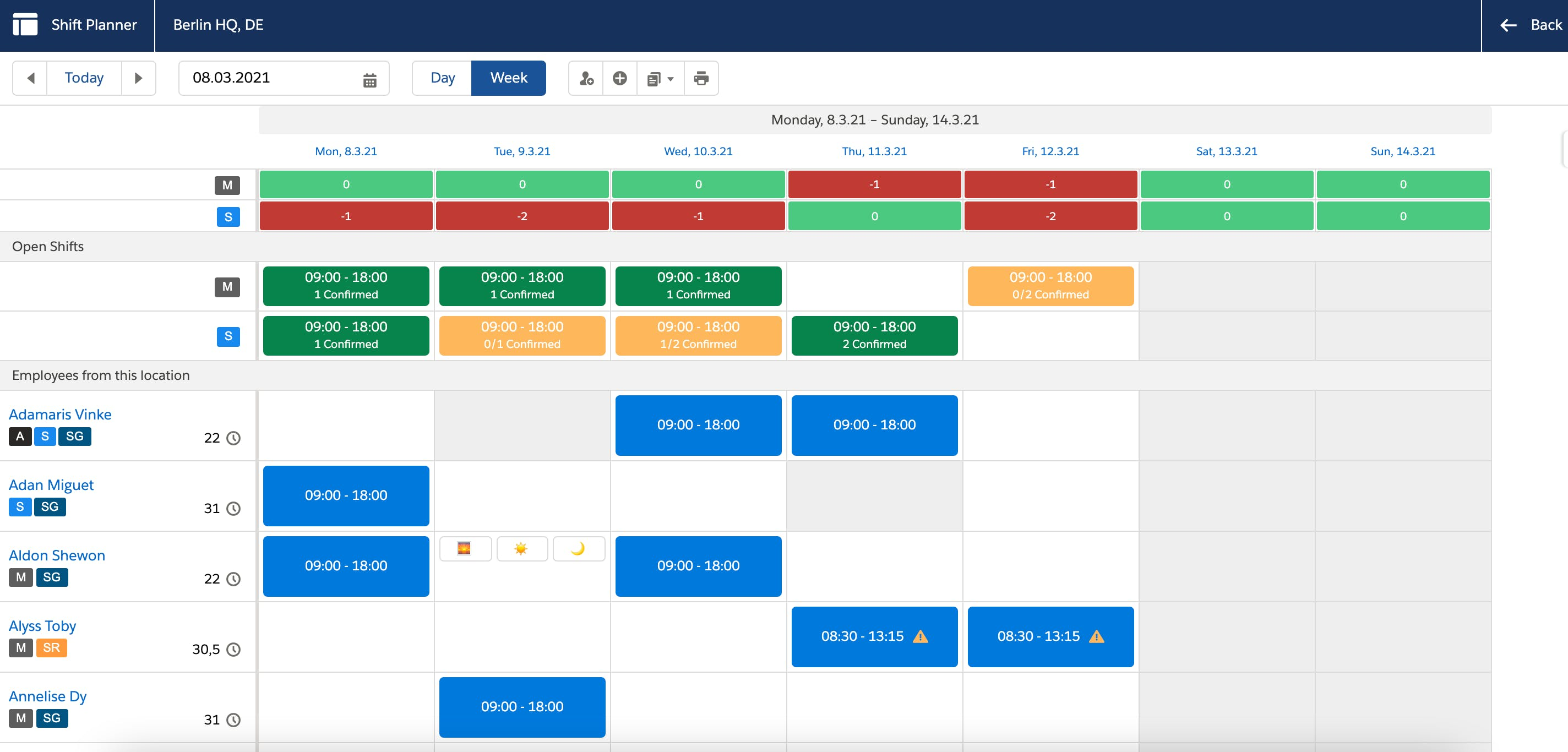 Shiftplanner view on Salesforce