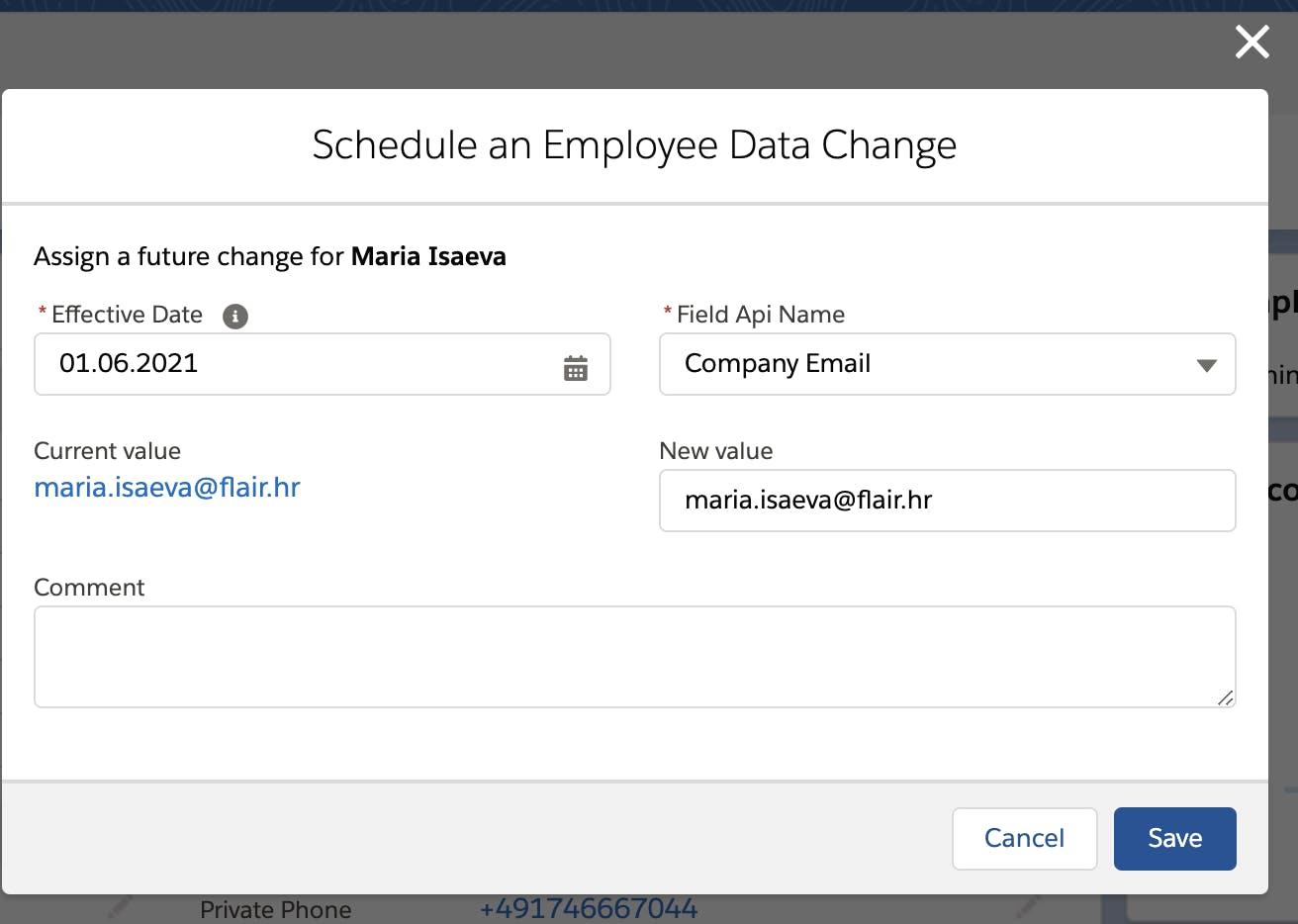 Schedule an Employee Data Change - flair.hr