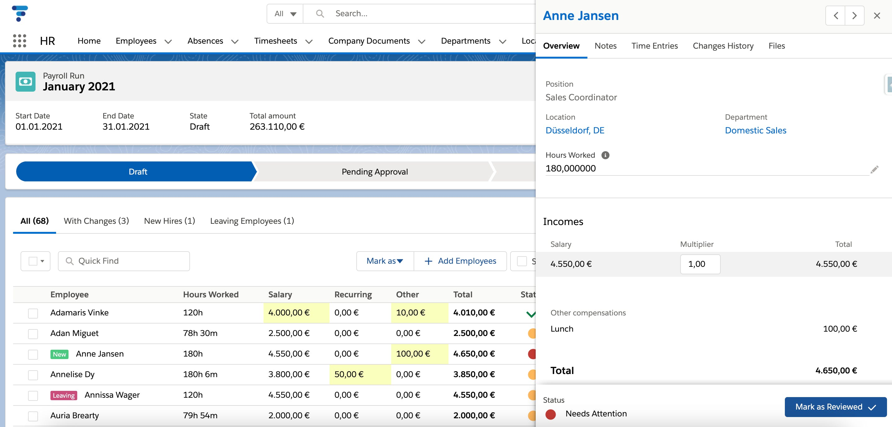 Flair's Payroll view on Salesforce