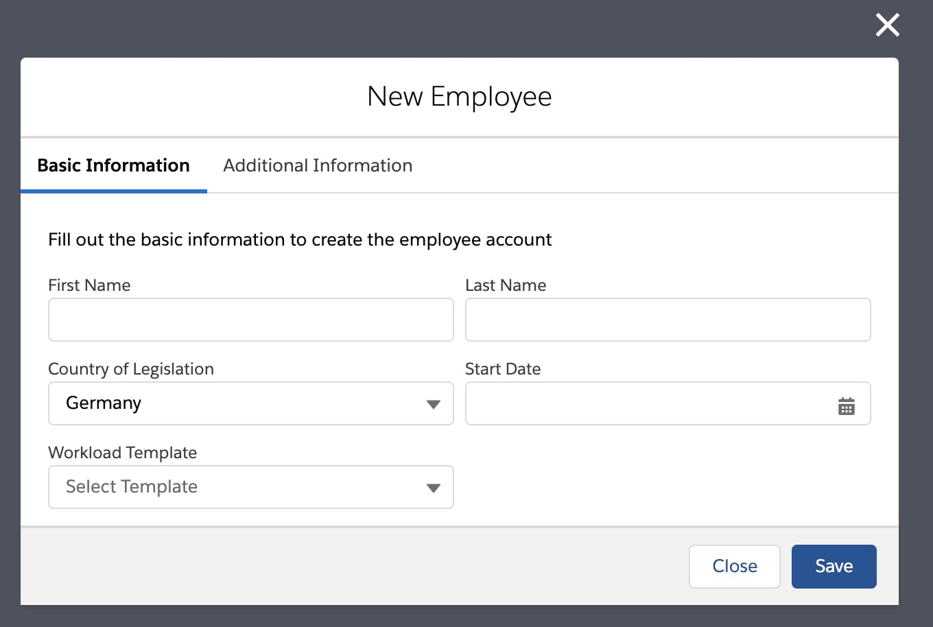 Updated version of Creating New Employee on flair