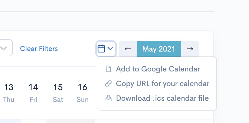 Flair provides iCal Link for the Whole Team