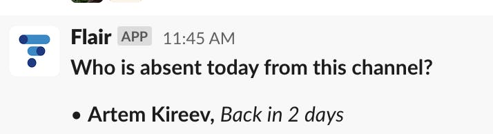 Flair's Absence Digest Notifications for Slack
