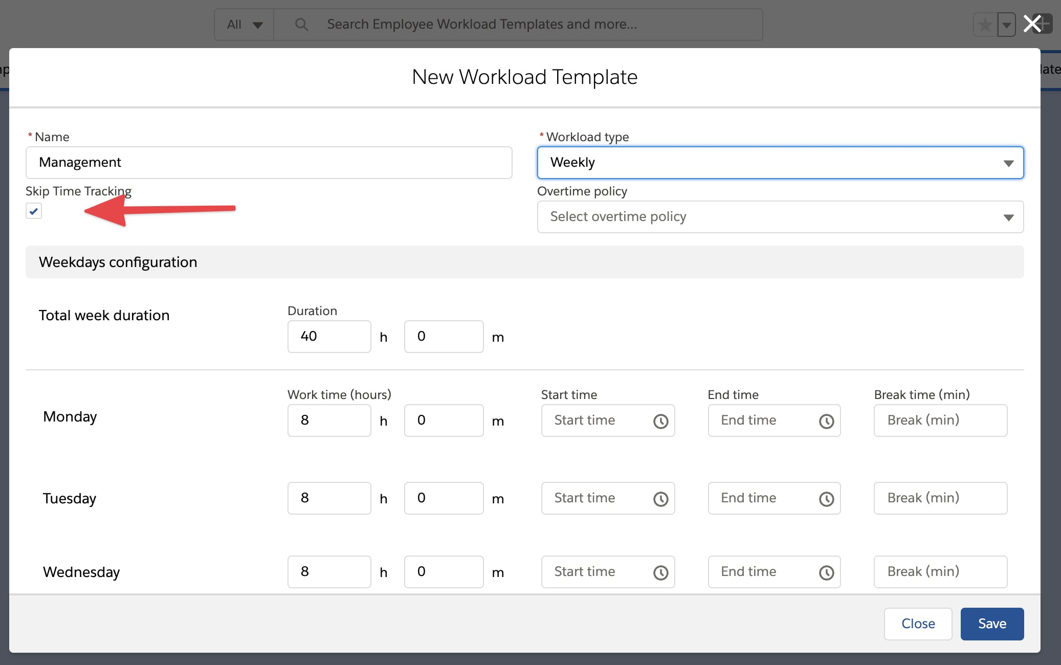 Set Employees without Time Tracking