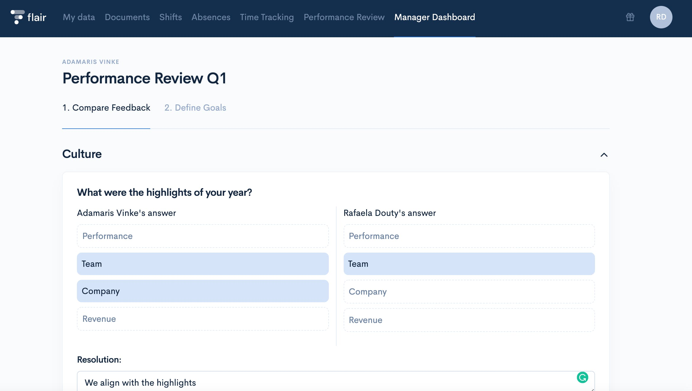 Screenshot with Performance Review in Employee HUB
